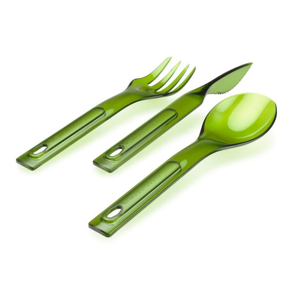 príbor GSI Outdoors Stacking Cutlery Set Green