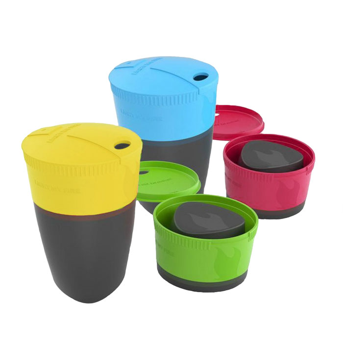 poháre LIGHT MY FIRE Pack-up-Cup 4-pack Lime/Fuchsia/Cyan/Green