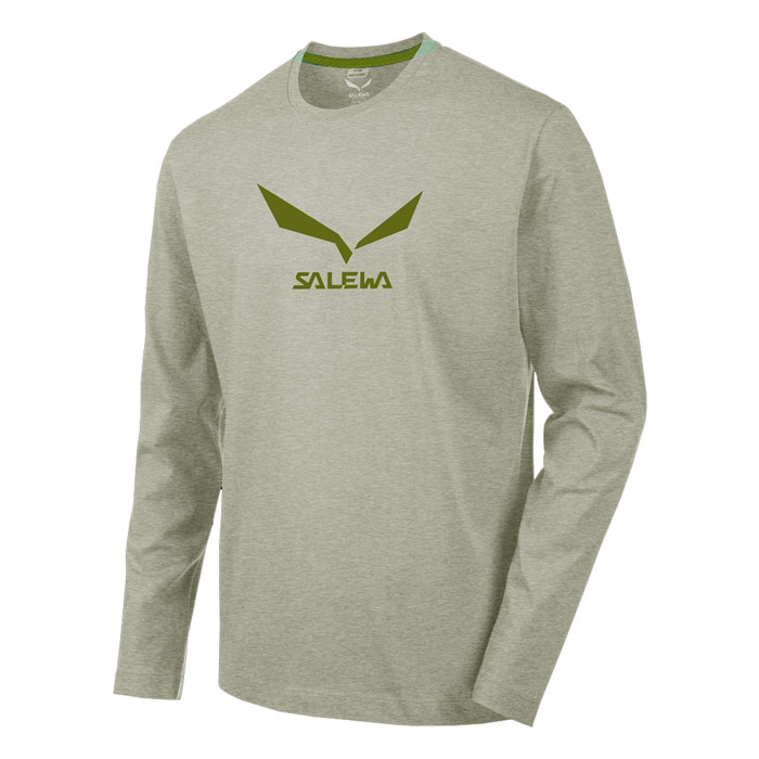 tričko SALEWA SolidLogo 2 Co M L/S Tee Grey Melange
